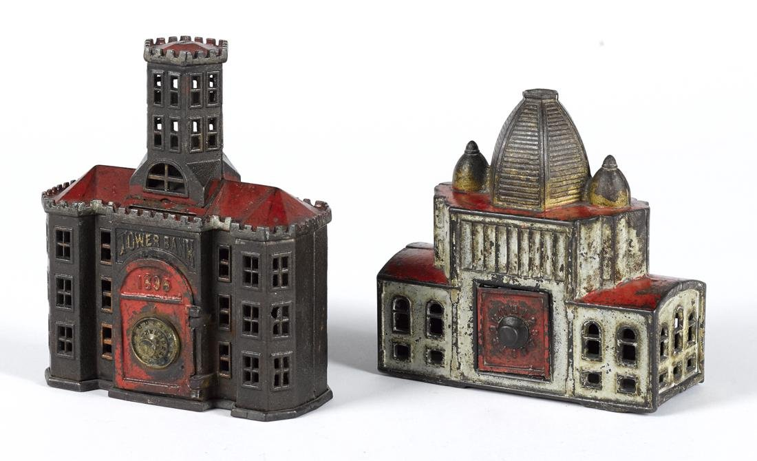 Two cast iron building still banks, to include a Kyser