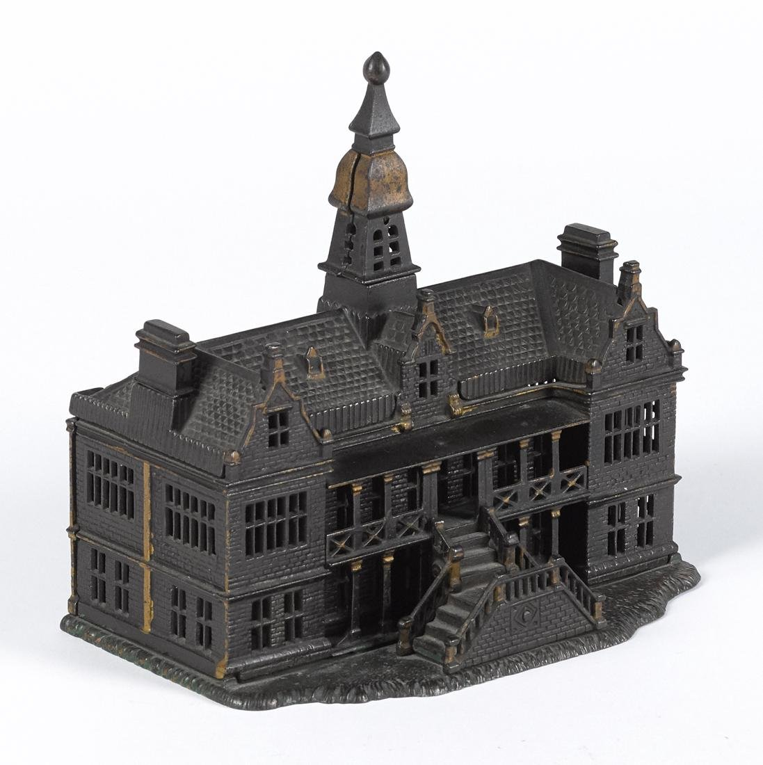 Ives cast iron palace still bank, 7 3/4'' h.