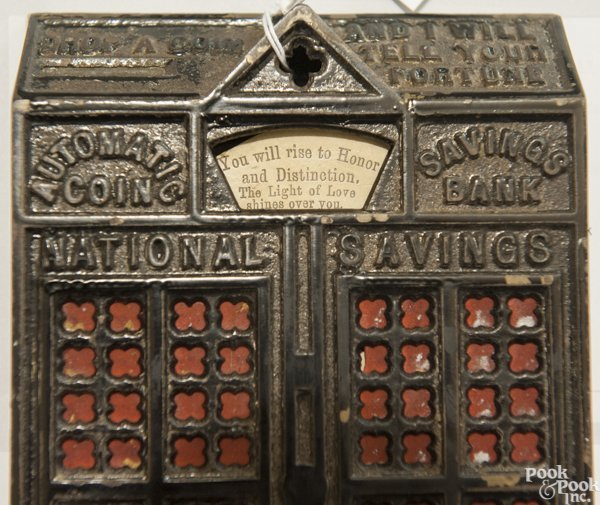 Cast iron Automatic Coin Savings mechanical bank. - 10
