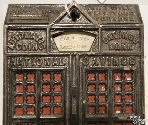 Cast iron Automatic Coin Savings mechanical bank. - 6