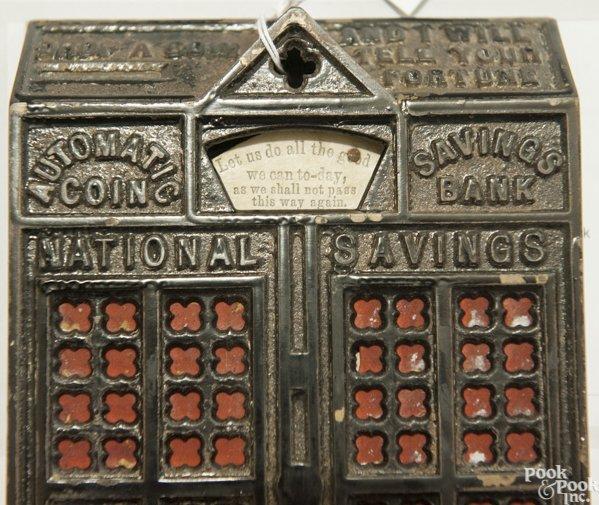 Cast iron Automatic Coin Savings mechanical bank. - 7