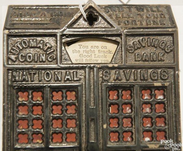 Cast iron Automatic Coin Savings mechanical bank. - 8