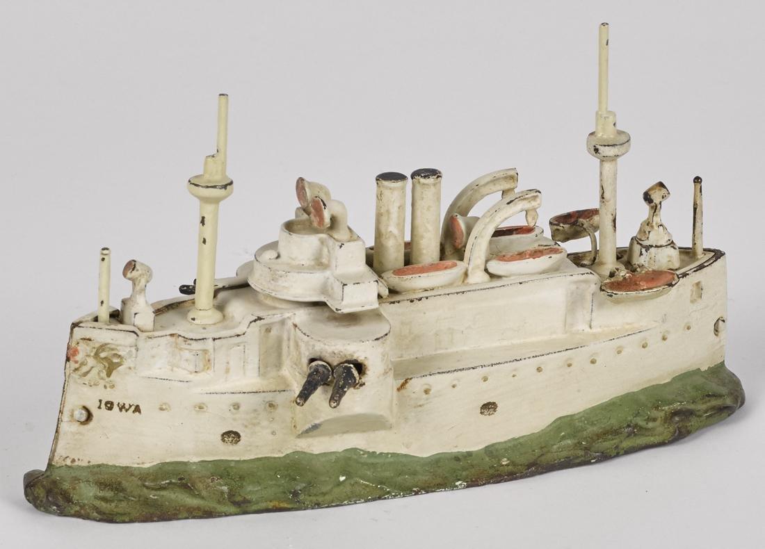 J. & E. Stevens cast iron Iowa battleship still bank,