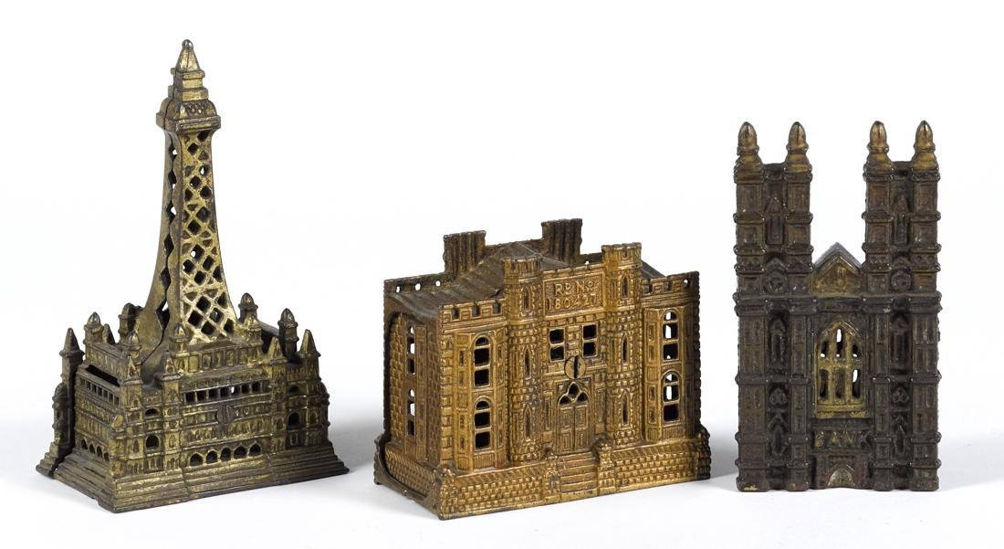 Three English cast iron building still banks, to