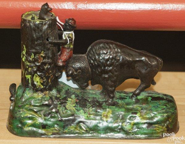 Kyser & Rex cast iron Butting Buffalo mechanical bank. - 3