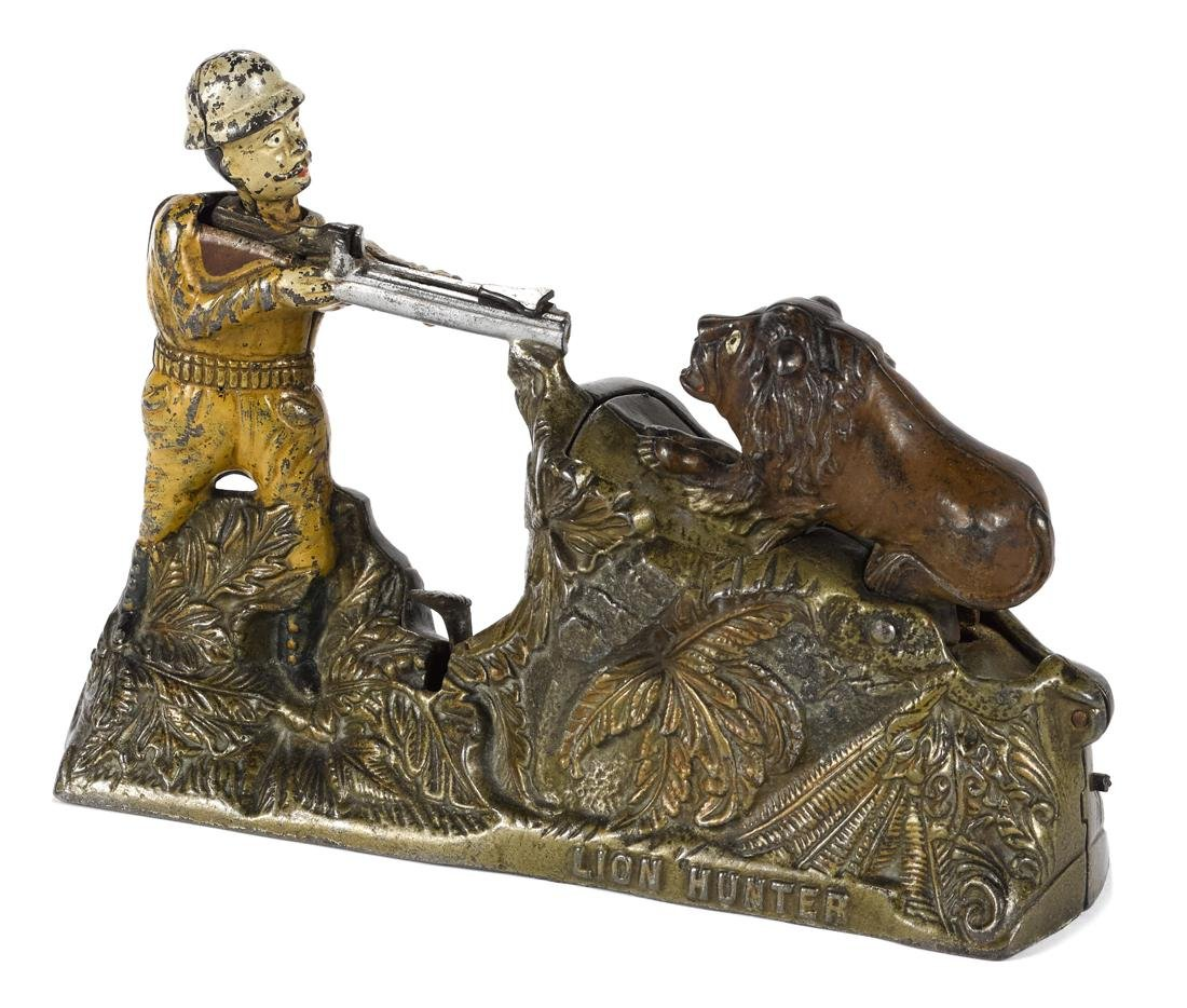 J. & E. Stevens cast iron Lion Hunter mechanical bank.