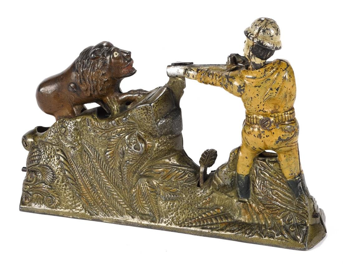 J. & E. Stevens cast iron Lion Hunter mechanical bank. - 2