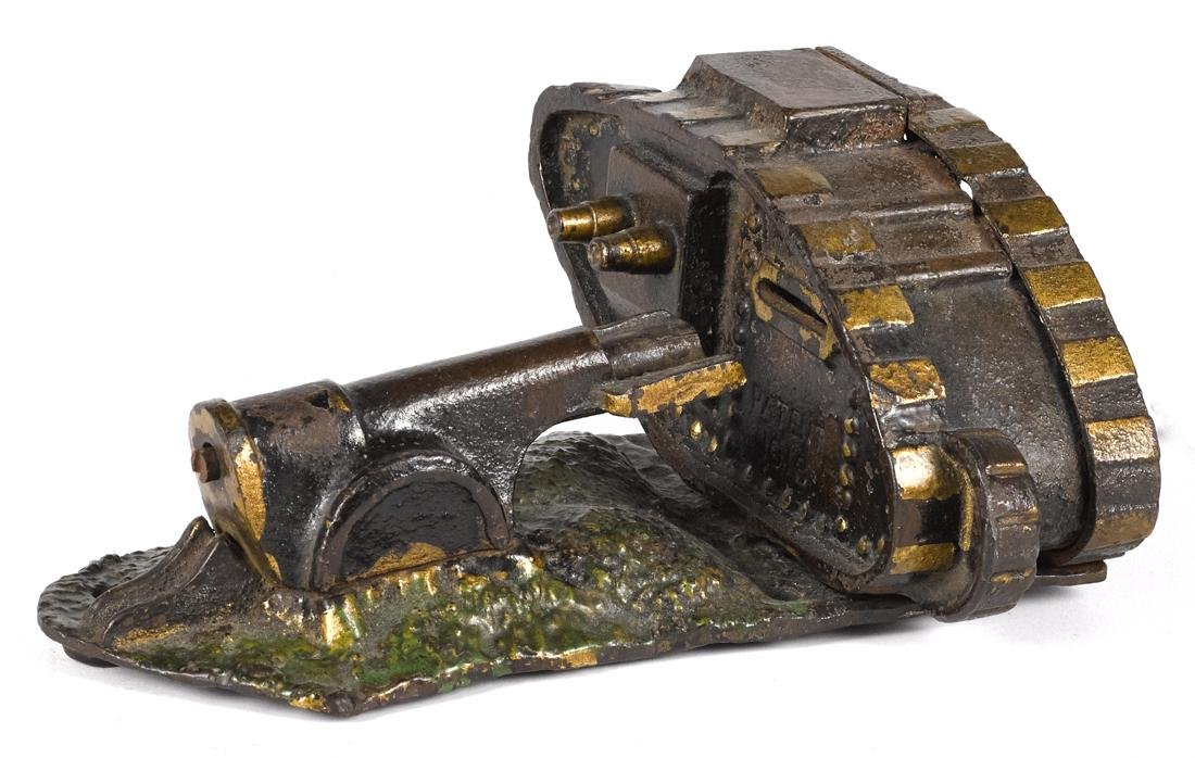 Starkie's cast iron Tank and Cannon mechanical bank.