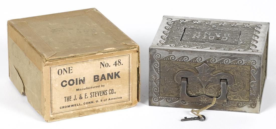J. & E. Stevens nickel-plated cast iron Coin still bank