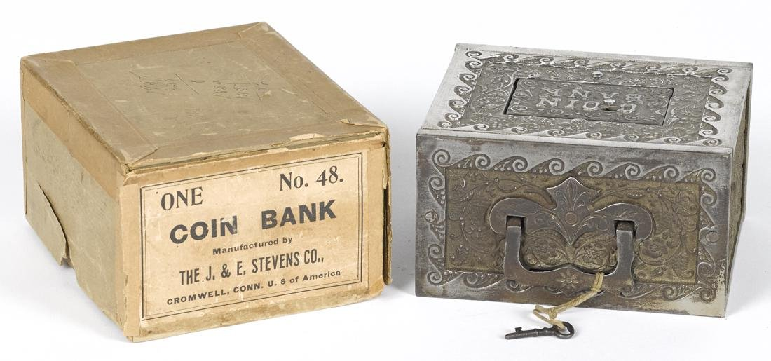 J. & E. Stevens nickel-plated cast iron Coin still bank