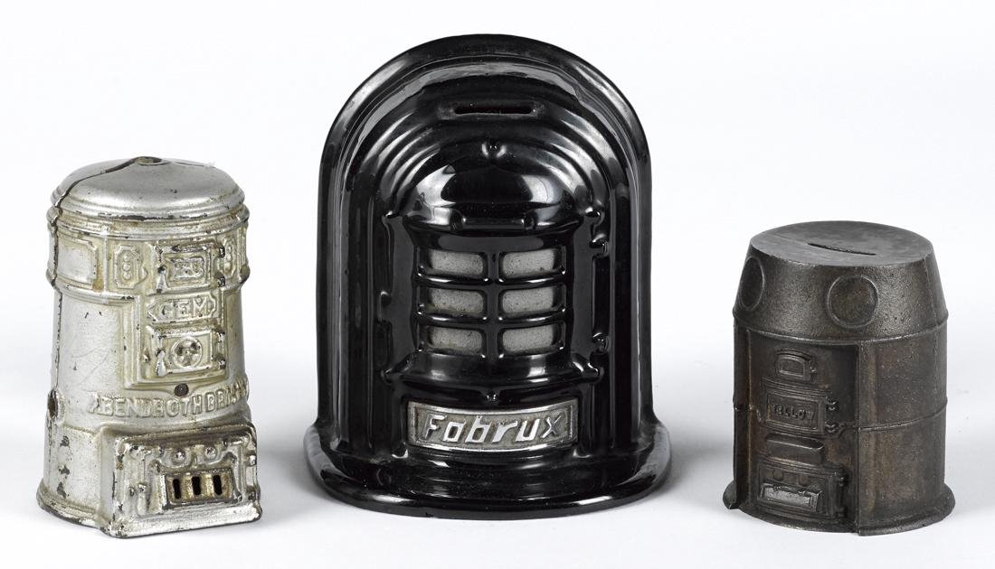 Three cast iron heating stove still banks, to include