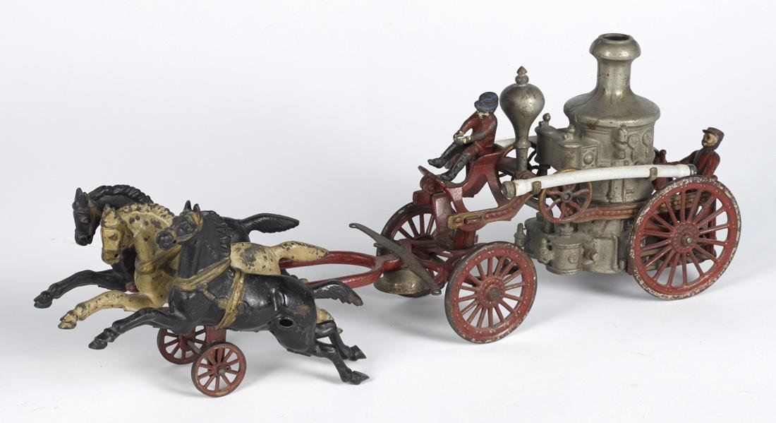Large Hubley cast iron horse drawn fire pumper with a