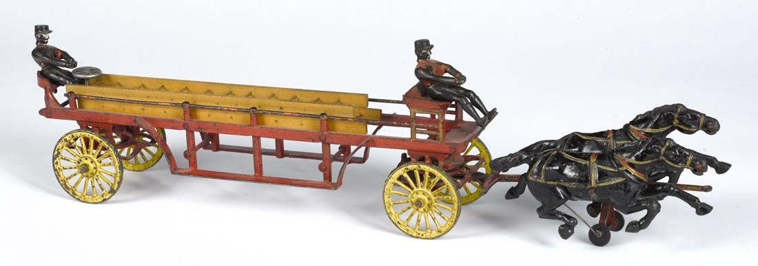 Wilkins cast iron horse drawn ladder wagon, early