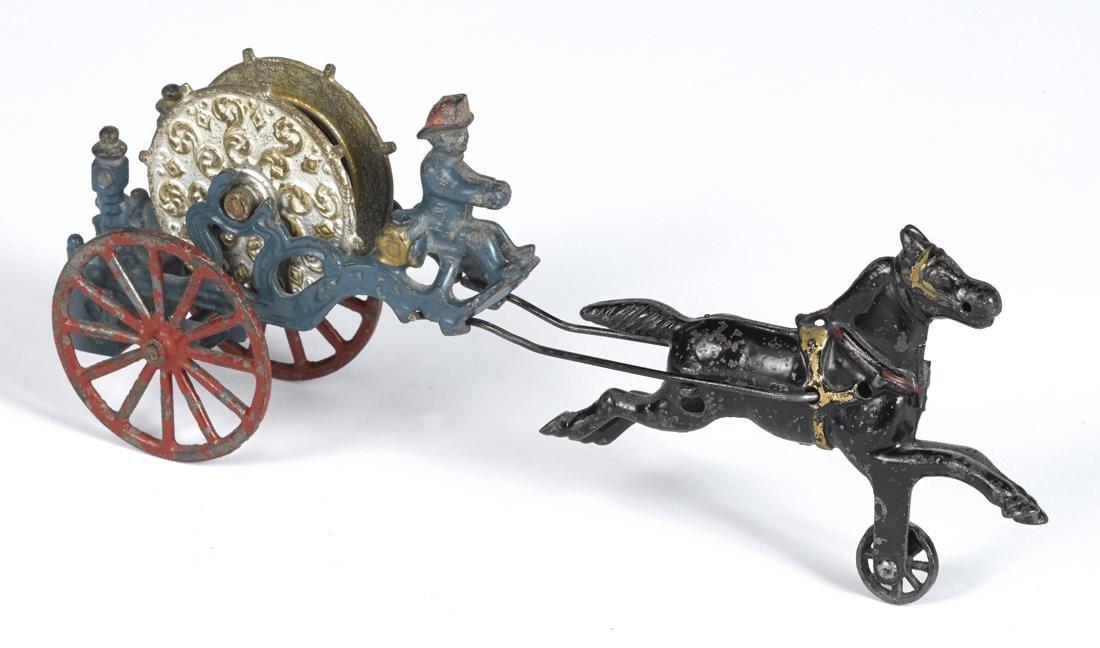 Kenton cast iron horse drawn hose reel with integral