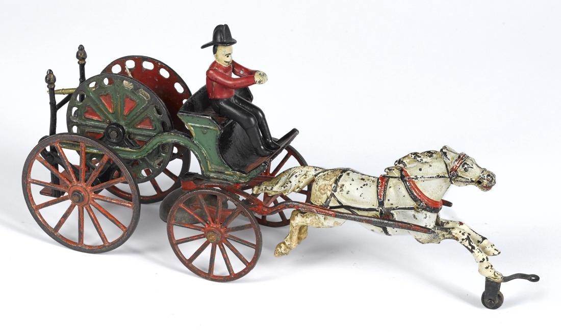 Pratt & Letchworth cast iron horse drawn hose reel with
