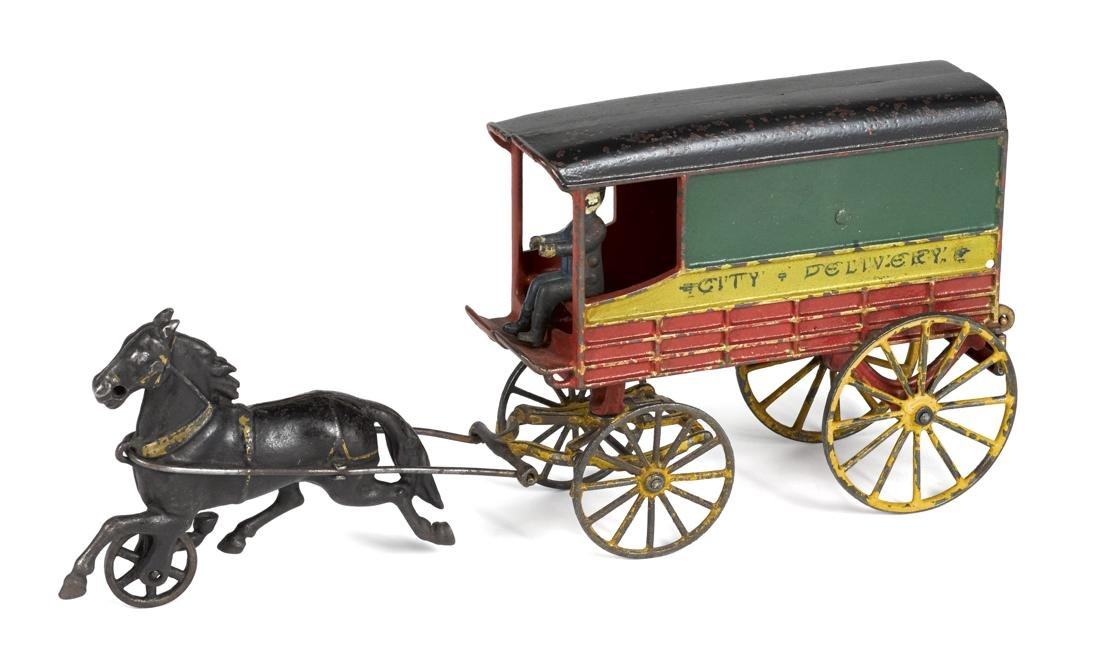 Harris cast iron horse drawn City Delivery closed wagon