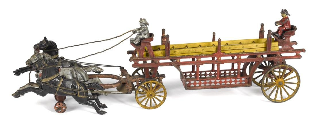 Harris cast iron horse drawn ladder wagon with wood