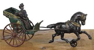 Hubley cast iron horse drawn open cart with a woman