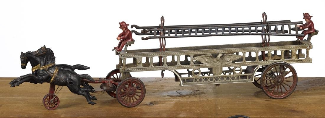 Large Hubley cast iron horse drawn ladder wagon