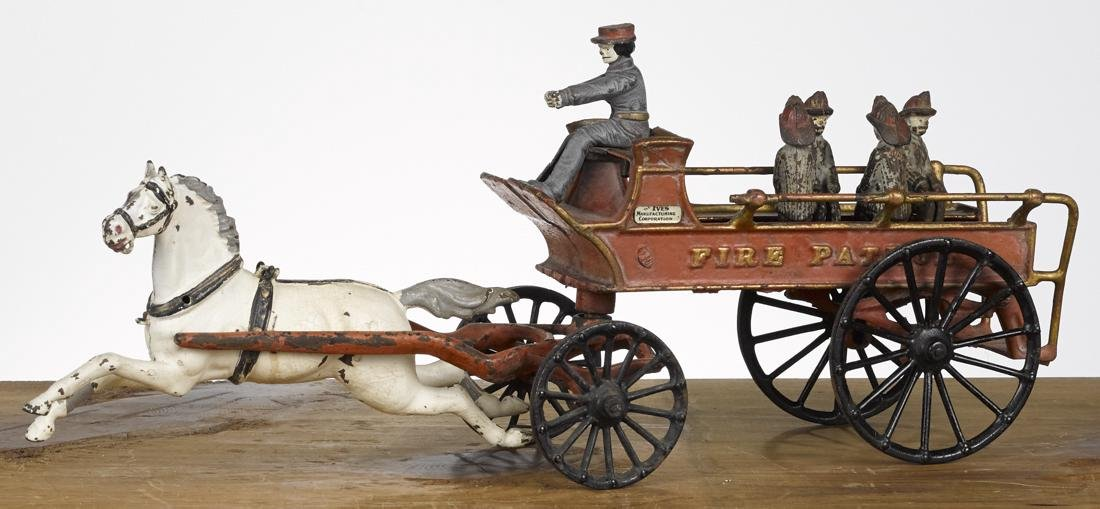 Ives cast iron horse drawn Fire Patrol wagon with a