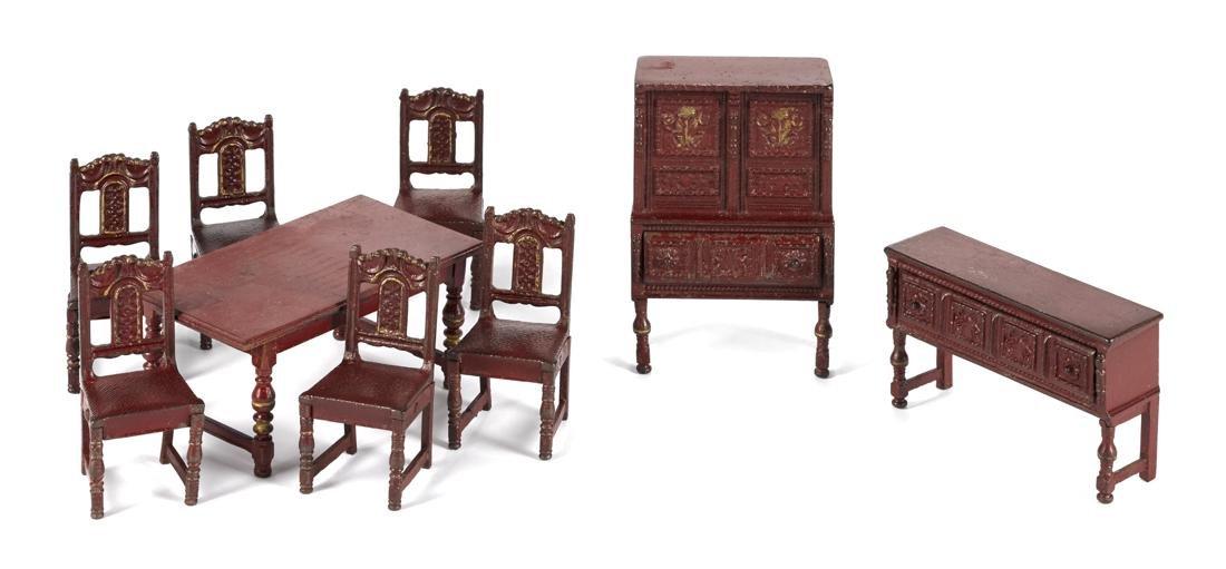 Arcade nine-piece cast iron living room suite, to