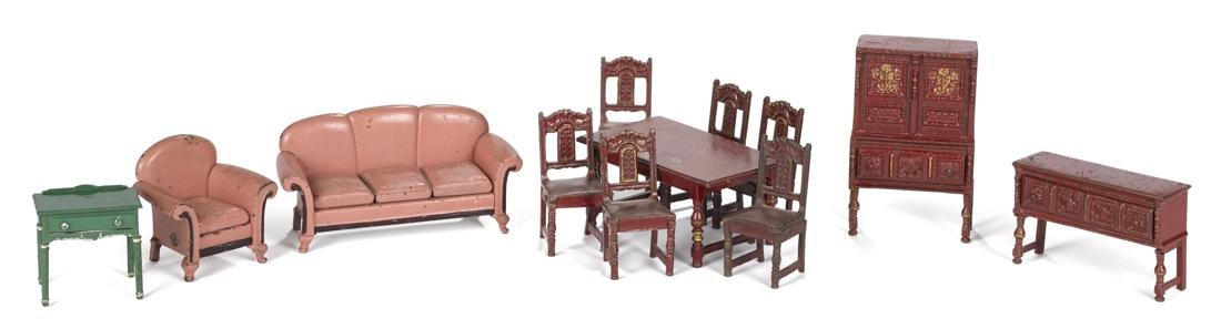 Arcade cast iron twelve-piece living and dining room