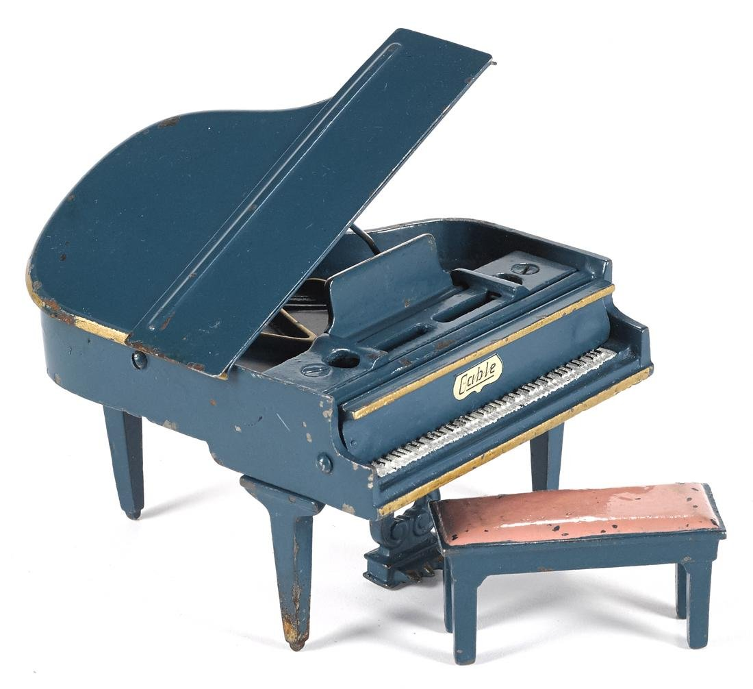 Arcade cast iron Cable piano and bench, 3'' h.