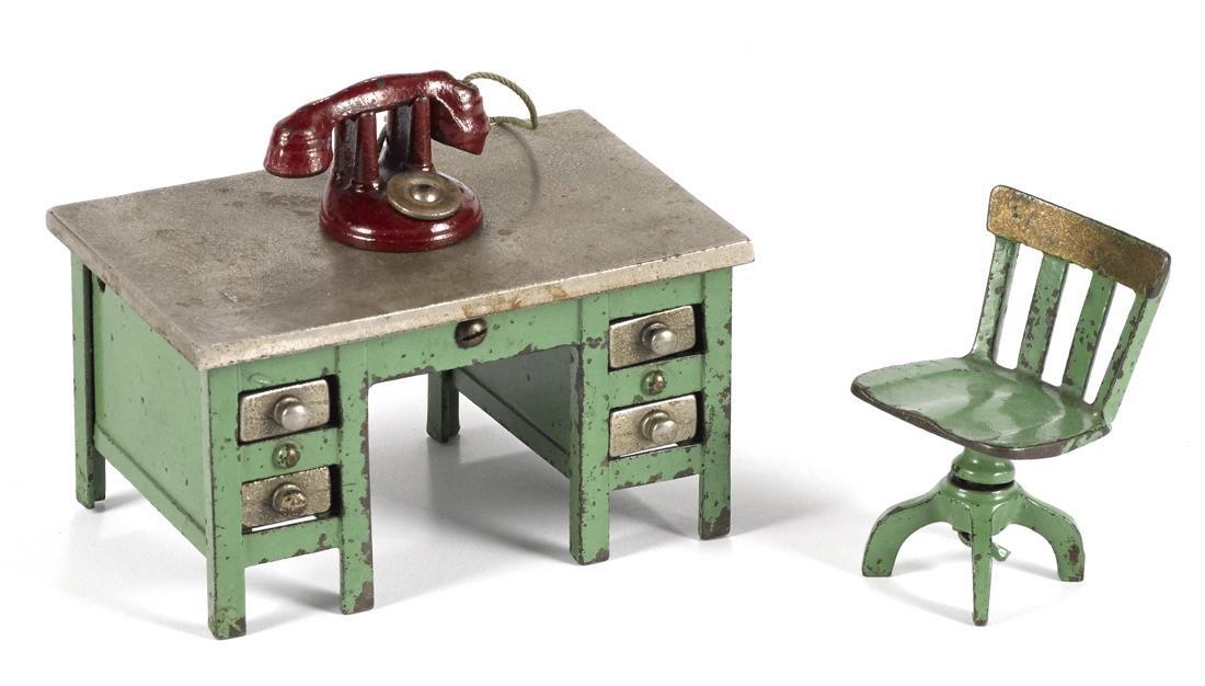 Kenton cast iron green knee hole desk, 2 3/4'' h., with