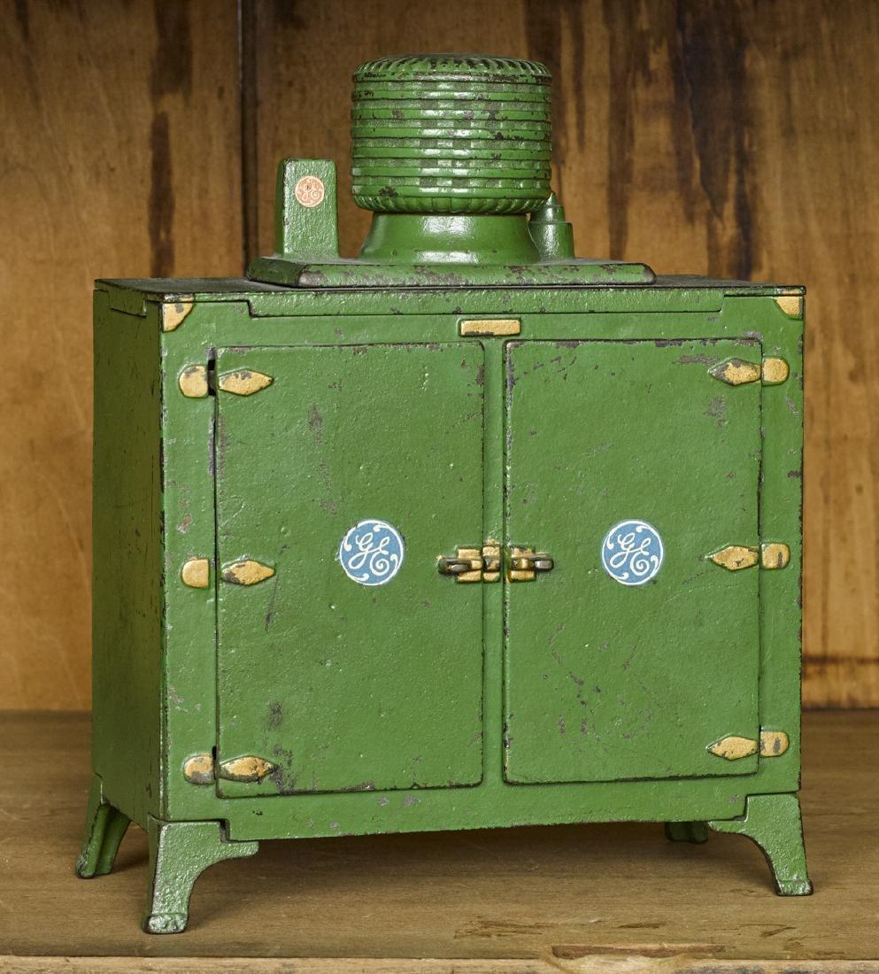 Hubley cast iron GE double door refrigerator with