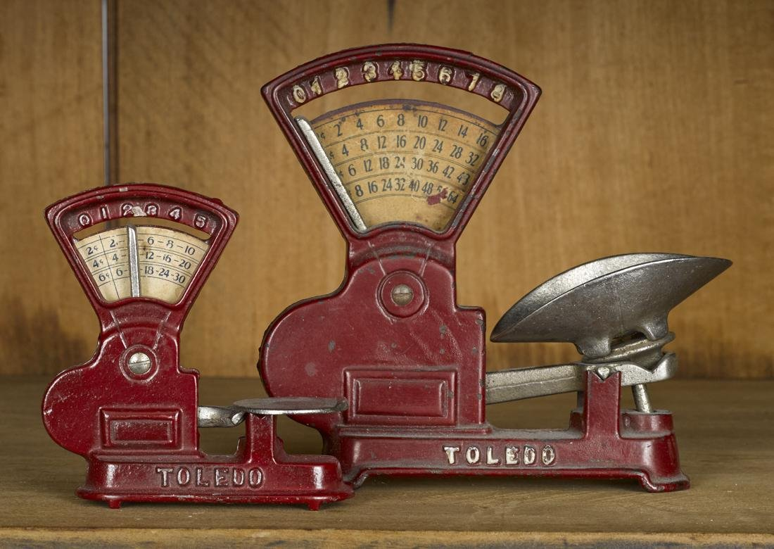 Two Kilgore cast iron Toledo counter scales, 6'' h. and