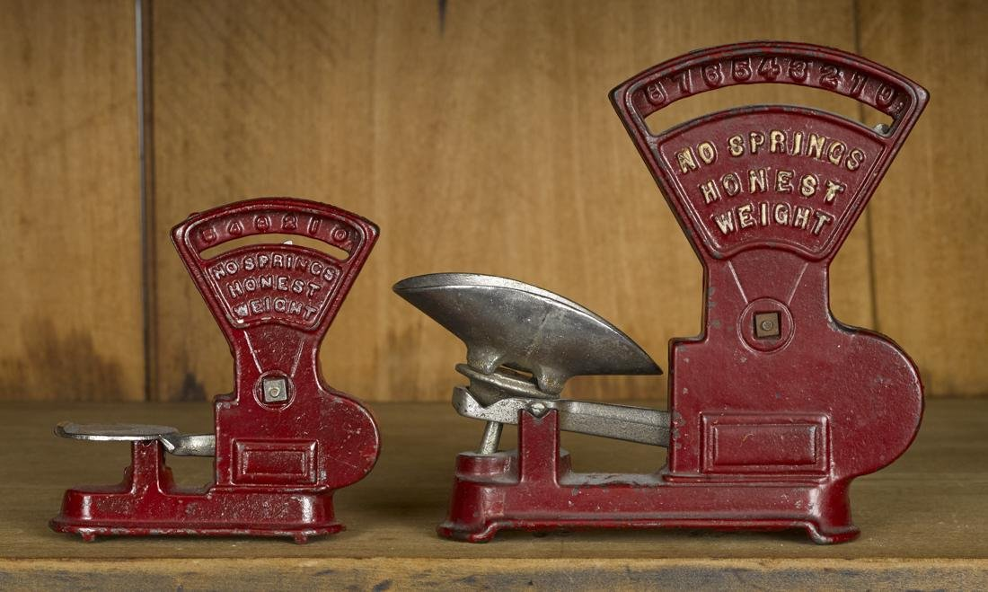Two Kilgore cast iron Toledo counter scales, 6'' h. and - 2