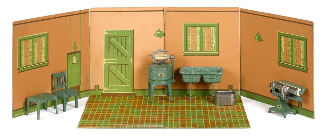 Arcade cast iron five-piece laundry set, with rare room