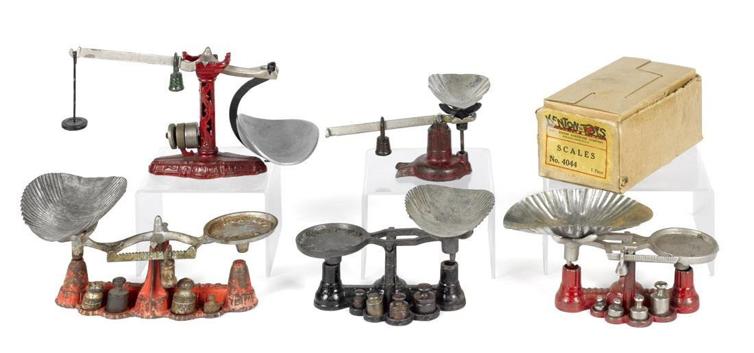 Five cast iron balance scales, to include one Kenton