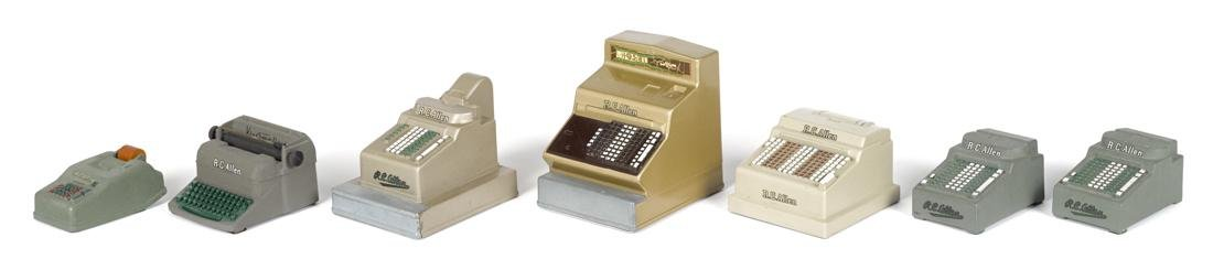 Seven R.C. Allen miniature cast metal miniatures, to