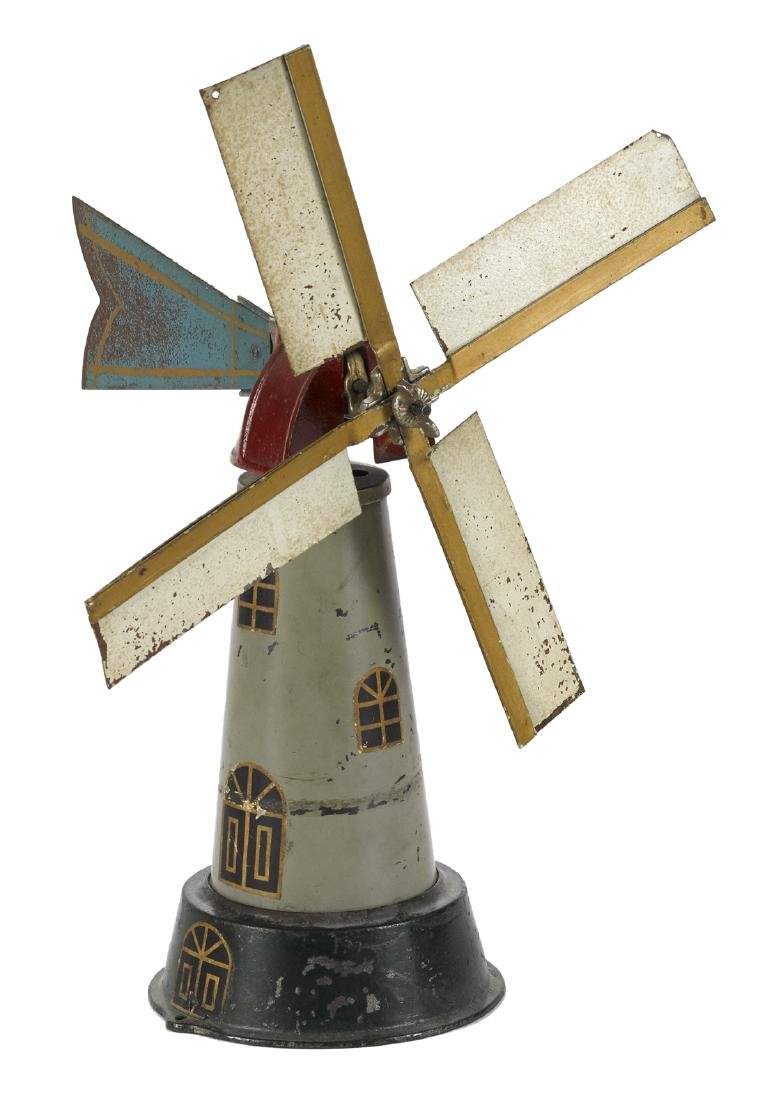 Arcade cast iron and painted tin windmill, 15'' h.