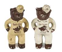 Two cast iron Parker Vises bear advertising