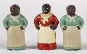 Three Hubley cast iron black Americana mammy