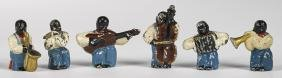 Hubley cast iron black Americana six-piece swing band,