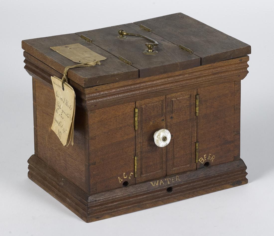 C. D. Hicks walnut refrigerator, cooler patent model,