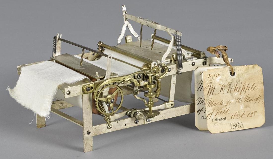 M. D. Whipple brass patent model for Machine for the