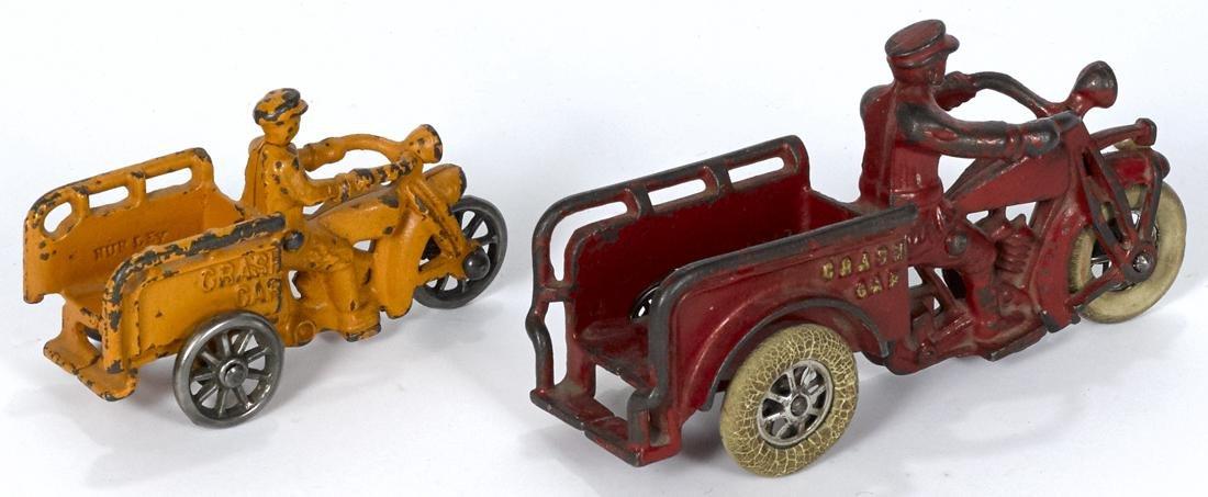Two Hubley cast iron Crash Car three-wheel motorcycles, - 2