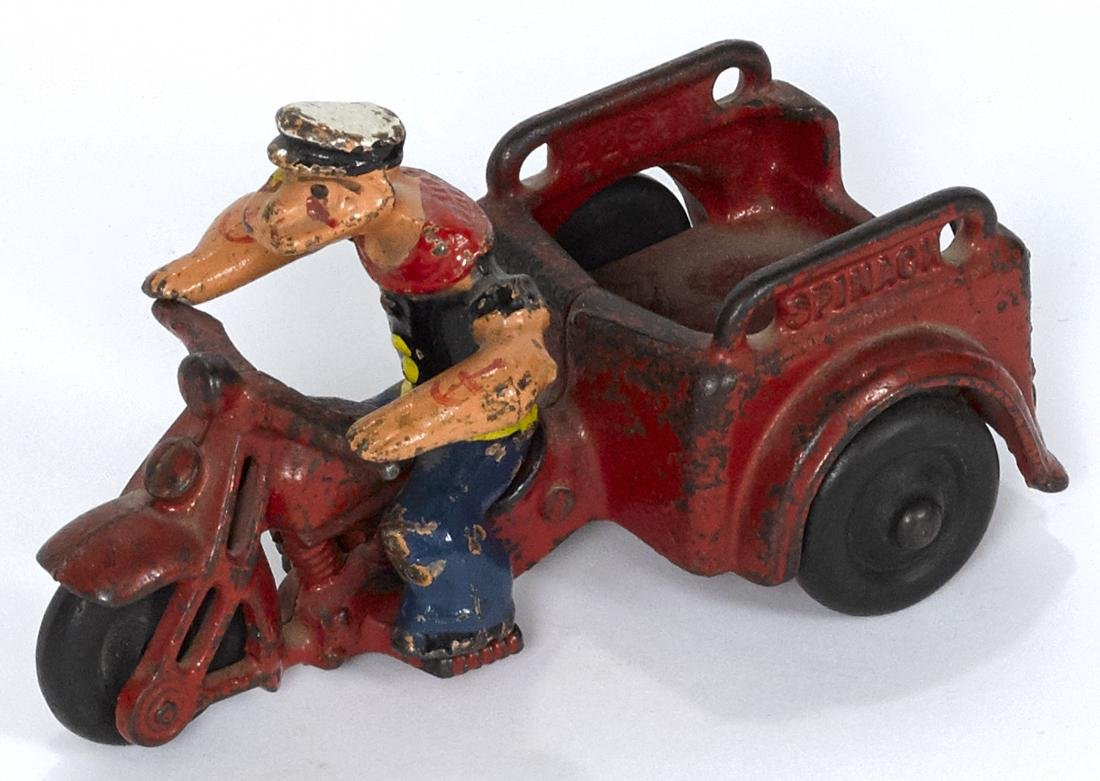 Hubley cast iron Popeye Spinach delivery motorcycle, 5