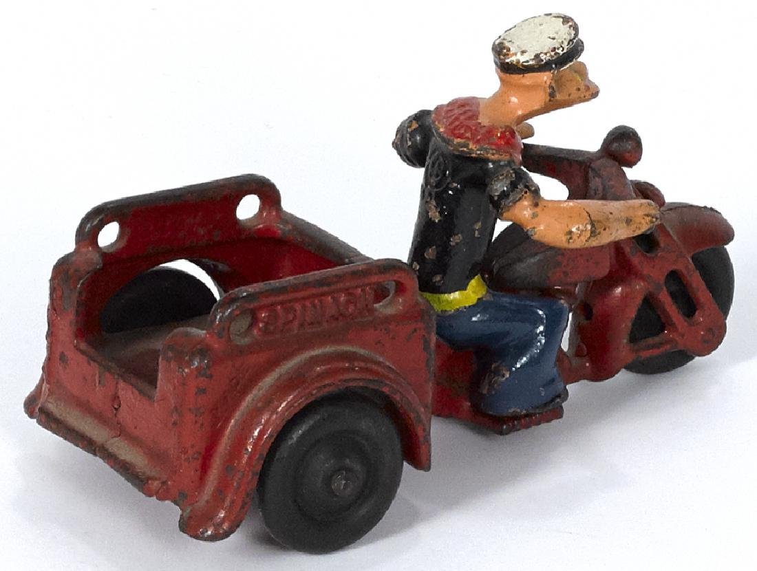 Hubley cast iron Popeye Spinach delivery motorcycle, 5 - 2