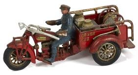 Hubley cast iron Indian Crash Car three-wheel