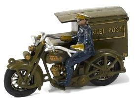 Hubley cast iron Parcel Post motorcycle, 9 1/2'' l.