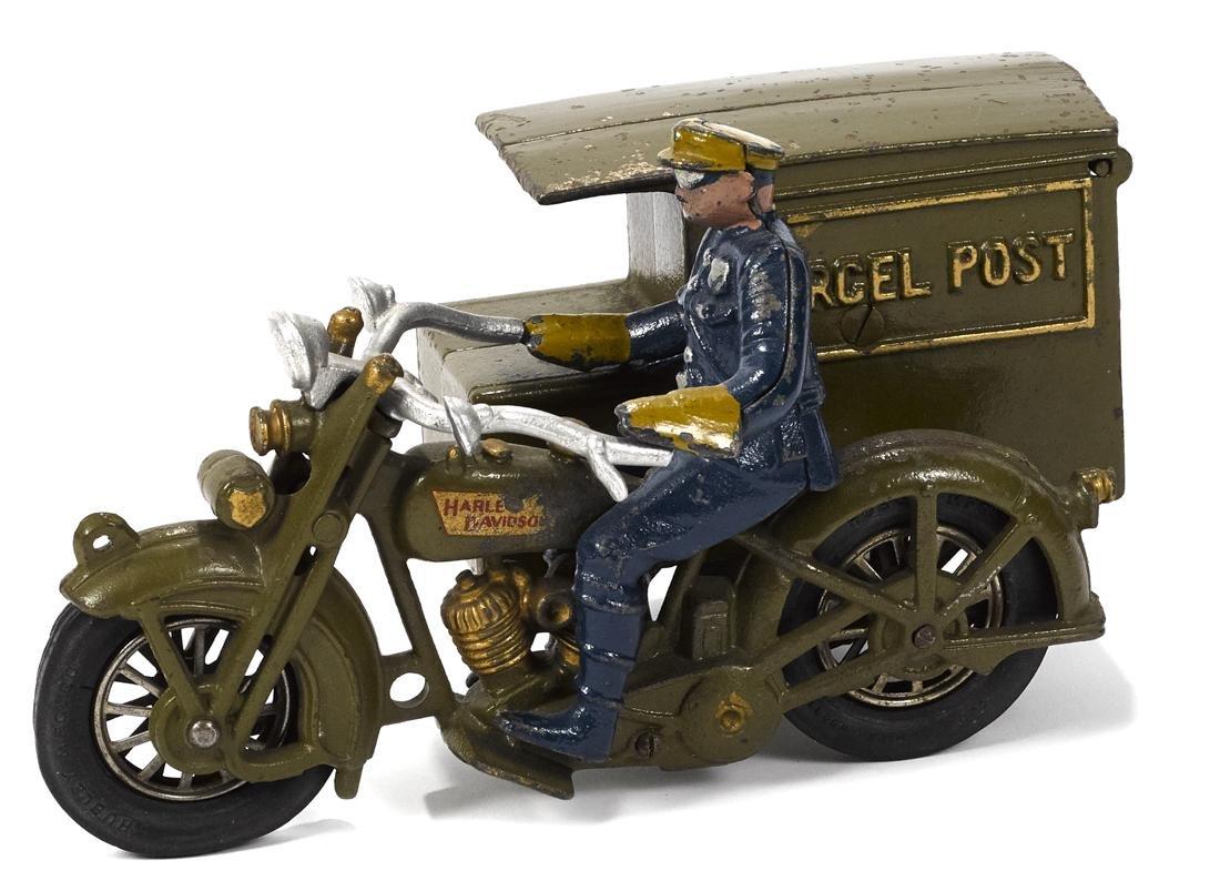 Hubley cast iron Parcel Post motorcycle, 9 1/2'' l.