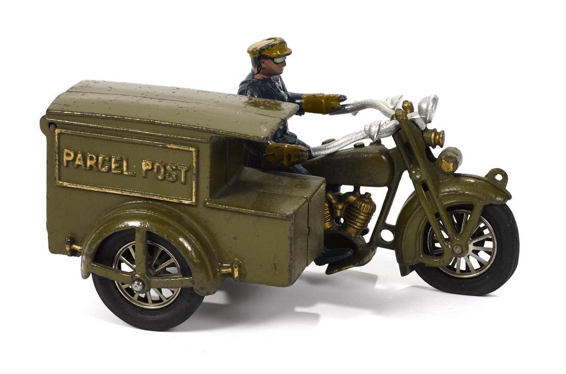 Hubley cast iron Parcel Post motorcycle, 9 1/2'' l. - 2