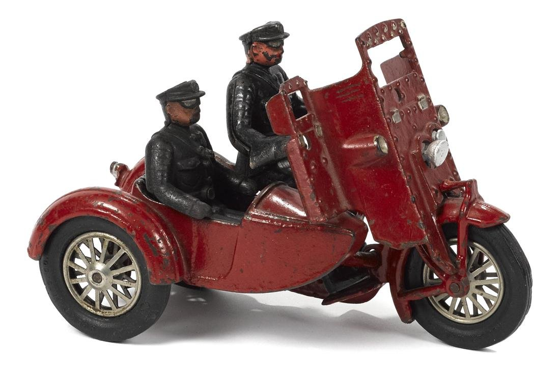 Hubley cast iron Indian motorcycle with a side car, a