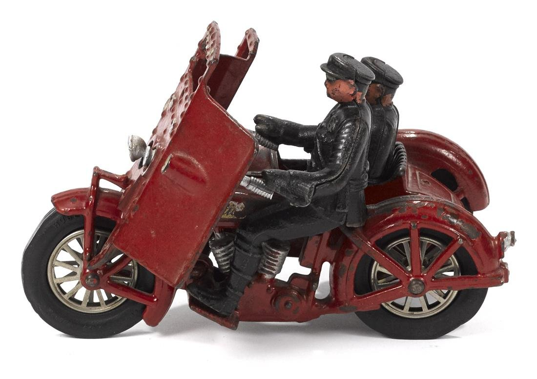 Hubley cast iron Indian motorcycle with a side car, a - 2