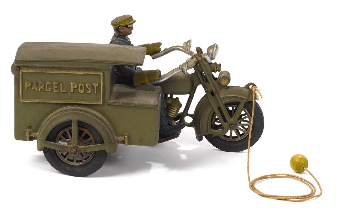 Hubley cast iron Parcel Post motorcycle with a police - 2
